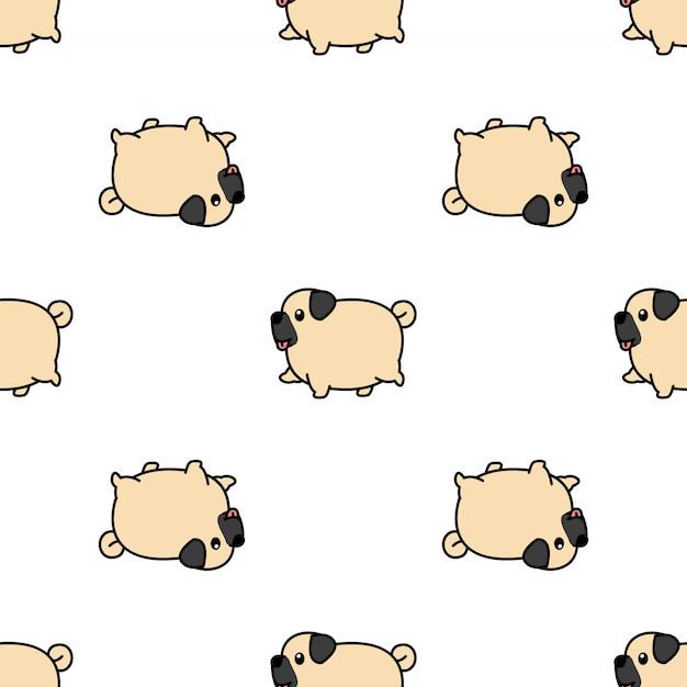 Modèle sans couture dessin animé mignon chien carlin Vecteur Premium