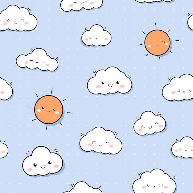 Modèle sans couture de dessin animé mignon ciel ciel doodle Vecteur Premium