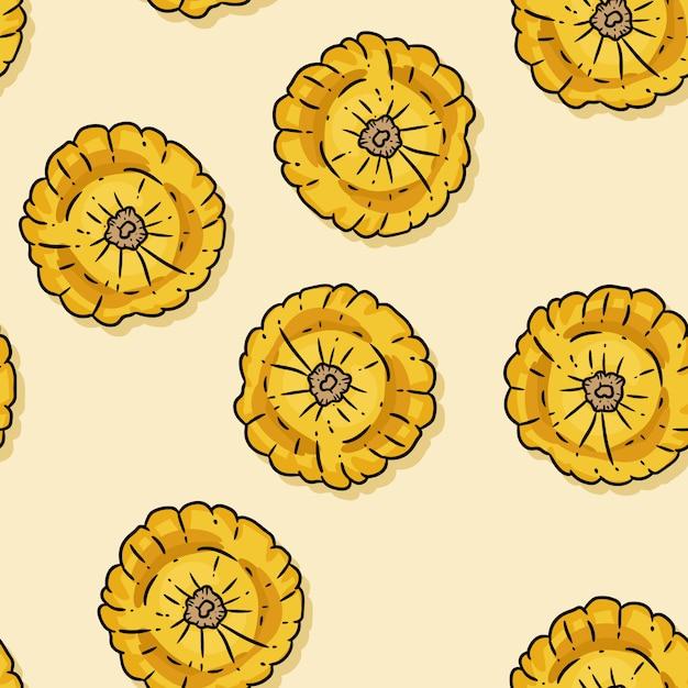 Modèle sans couture dessin animé mignon de citrouilles. Vecteur Premium