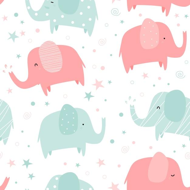 Modèle sans couture de dessin animé mignon éléphant pastel doodle Vecteur Premium