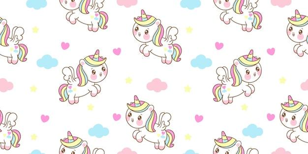 Modèle Sans Couture Dessin Animé Mignon Licorne Pegasus Voler Avec Animal Kawaii Nuage Vecteur Premium