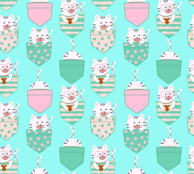 Modèle sans couture dessin animé mignon petit chat kitty blanc et gris Vecteur Premium