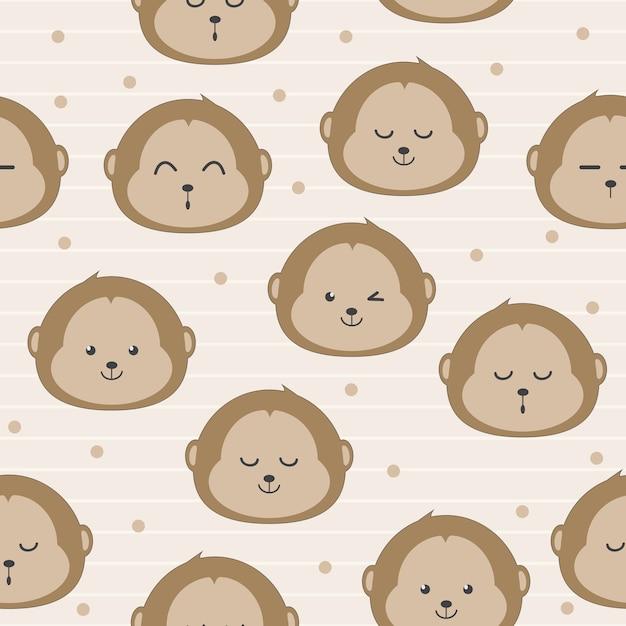 Modèle sans couture de dessin animé mignon visage de singe Vecteur Premium