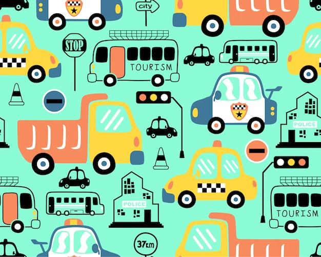 Modèle sans couture avec dessin animé de véhicules Vecteur Premium