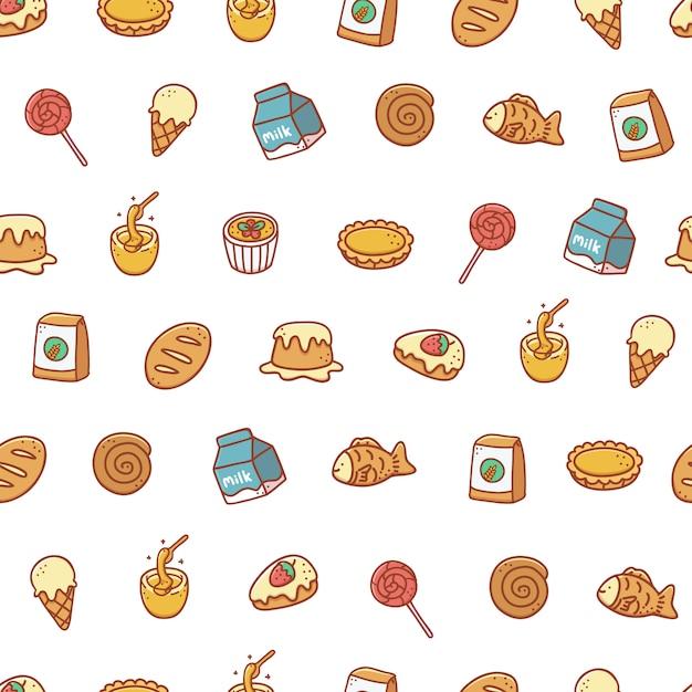 Modèle Sans Couture Dessiné De Main Boulangerie Et Dessert Vecteur Premium