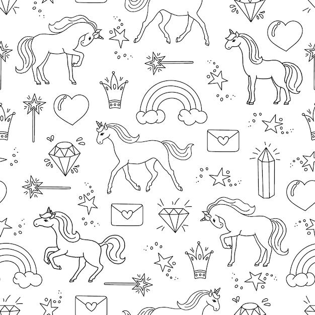 Modèle sans couture dessiné de main avec des licornes. Vecteur Premium