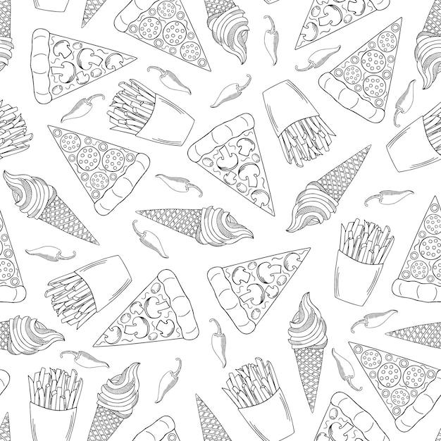 Modèle sans couture dessinés à la main fast-food. pizza, frites et crème glacée. Vecteur Premium