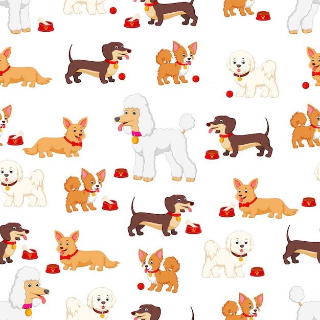 Modèle sans couture avec différents types de chiens Vecteur Premium