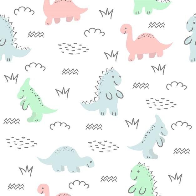 Modèle Sans Couture Avec Dinosaure Mignon Et Amis Vecteur Premium