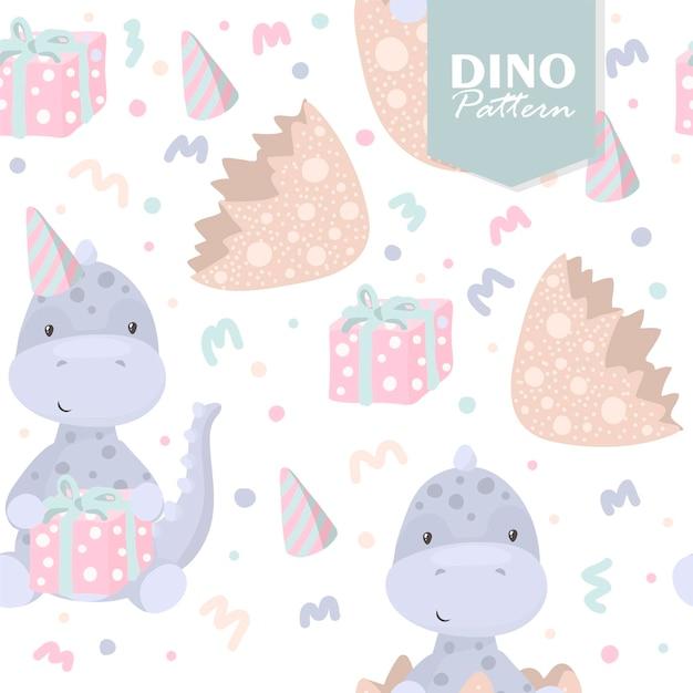Modèle Sans Couture De Dinosaure Avec Des Oeufs Et Des Cadeaux Vecteur gratuit