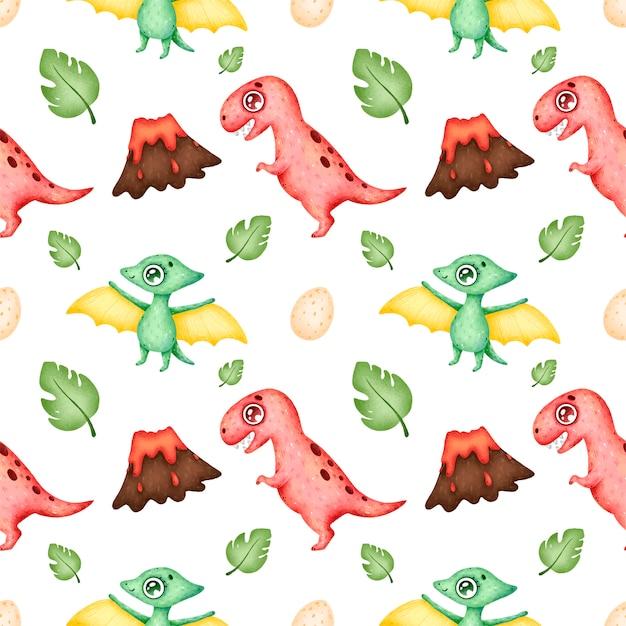 Modèle Sans Couture De Dinosaures Dessin Animé Mignon Vecteur Premium