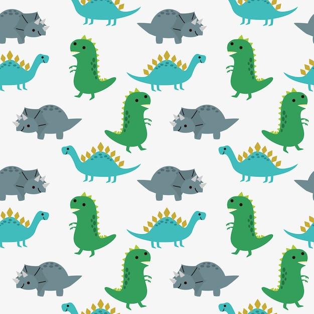 Modèle sans couture de dinosaures mignons. Vecteur Premium