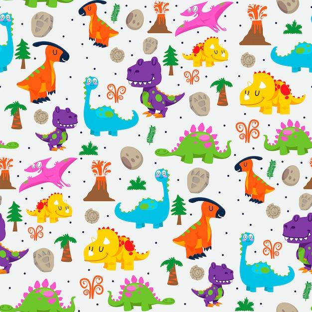 Modèle sans couture de dinosaures mignons Vecteur Premium