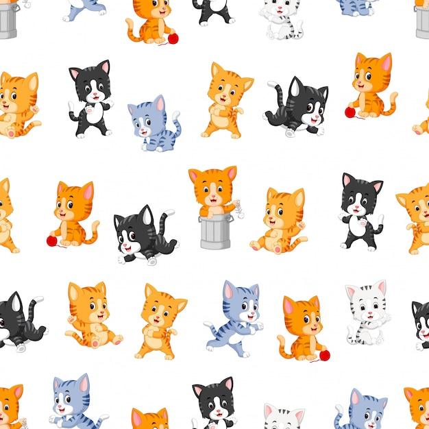 Modèle sans couture avec divers chats mignons Vecteur Premium