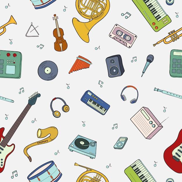 Modèle Sans Couture Avec Divers Instruments De Musique, Symboles, Objets Et éléments. Vecteur Premium