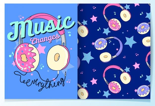 Modèle sans couture donut mignon dessiné à la main Vecteur Premium
