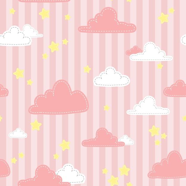 Modèle sans couture doodle bande dessinée rose mignon ciel et nuage dessin animé Vecteur Premium