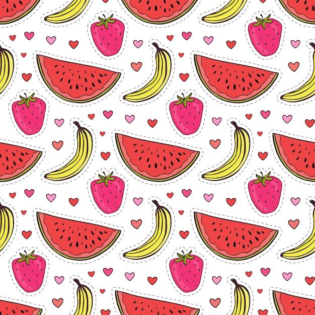Modèle sans couture de doodle avec des fruits. fond de vecteur banane, fraise et pastèque. papier d'emballage ou design textile Vecteur Premium