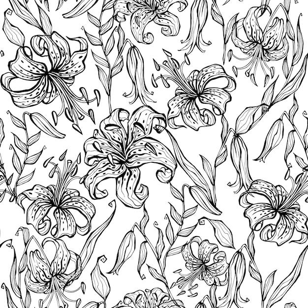 Modèle sans couture doodle avec lys .. Vecteur Premium