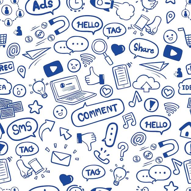 Modèle sans couture de doodles de médias sociaux dessinés à la main Vecteur Premium