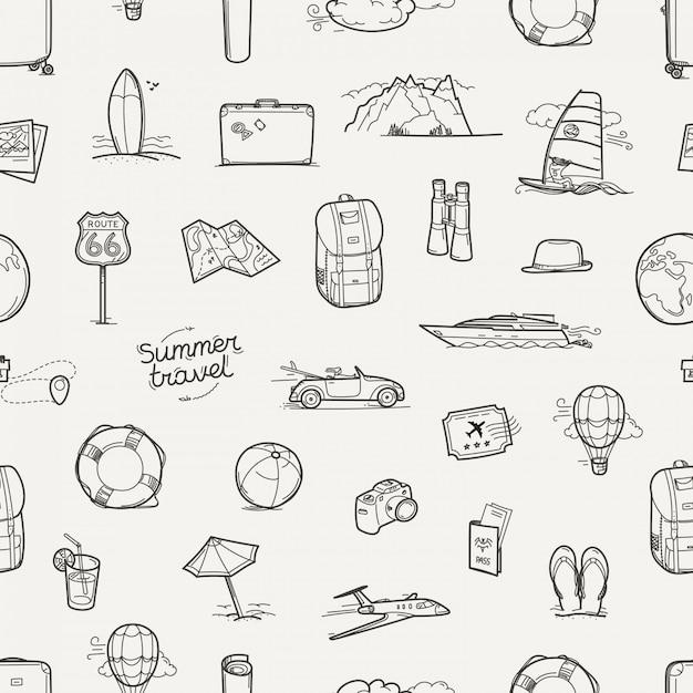 Modèle sans couture de doodles voyage dessinés à la main Vecteur Premium