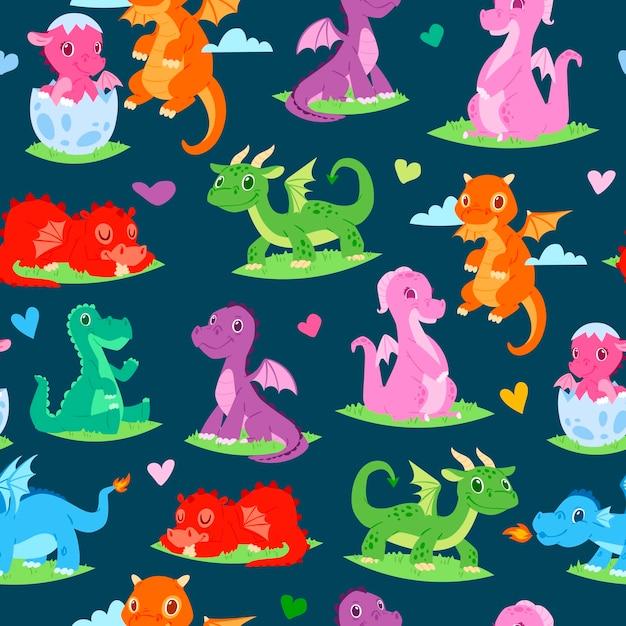 Modèle sans couture de dragons enfants enfants Vecteur Premium