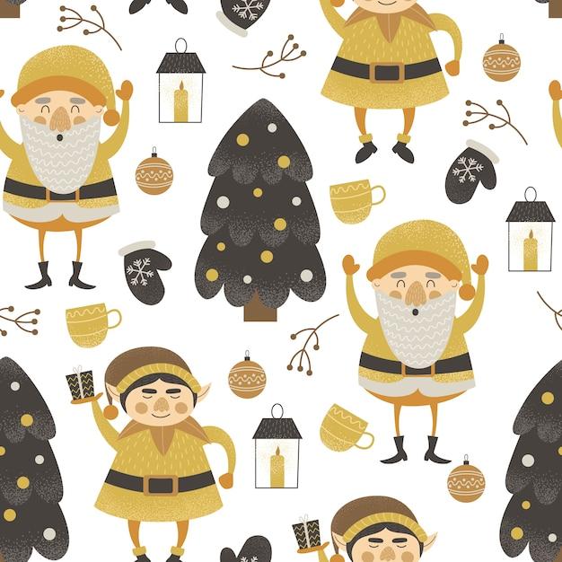 Modèle Sans Couture Drôle De Noël Avec Des Elfes Vecteur Premium