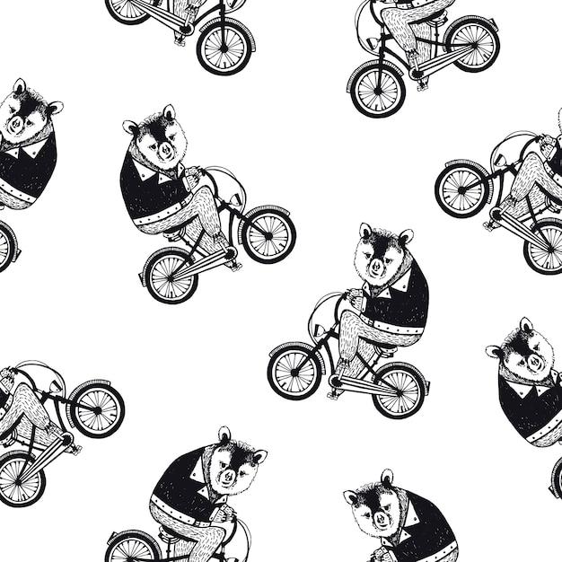 Modèle Sans Couture Drôle Avec Ours Brun Dessin Animé Mignon Habillé En Chemise Sombre, Faire Du Vélo Sur Fond Blanc. Illustration Dessinée à La Main Dans Un Style Rétro Pour Papier Peint, Tissu Imprimé, Papier D'emballage. Vecteur Premium