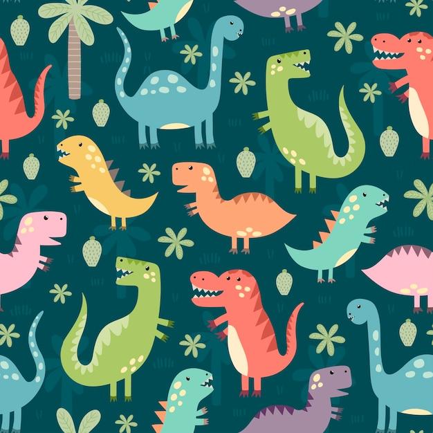 Modèle sans couture de drôles de dinosaures. Vecteur Premium