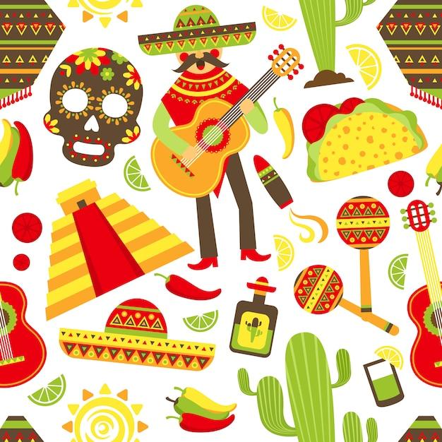 Modèle sans couture du mexique Vecteur gratuit