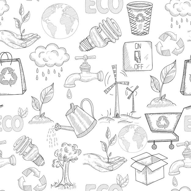 Modèle sans couture d'écologie doodle avec symboles de conservation de la nature des plantes vector illustration Vecteur gratuit