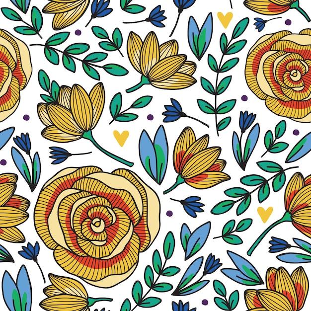 Modèle sans couture élégant avec des fleurs, illustration vectorielle Vecteur Premium