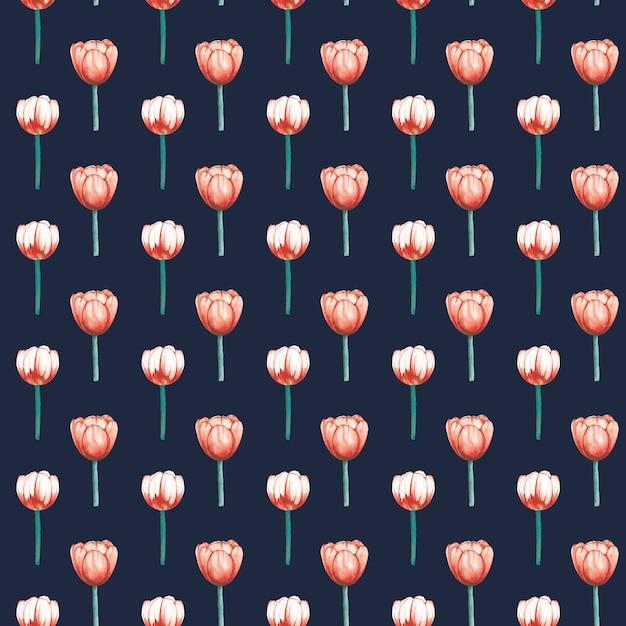 Modèle Sans Couture élégant De Tulipes Aquarelle Vecteur Premium