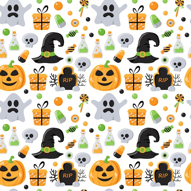 Modèle sans couture avec des éléments d'halloween Vecteur Premium
