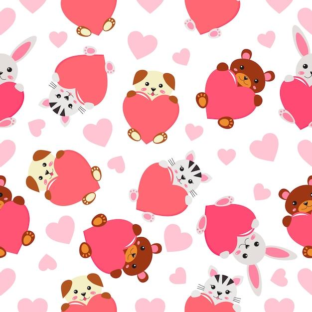 Modèle sans couture enfantin - animaux kawaii drôles avec un cœur. Vecteur Premium