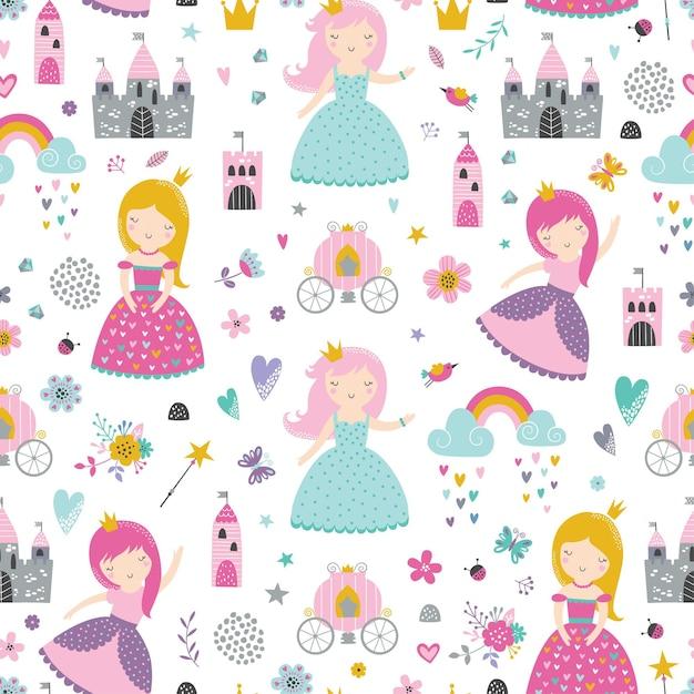 Modèle Sans Couture Enfantin Avec Princesse, Château, Calèche Dans Un Style Scandinave. Vecteur Premium