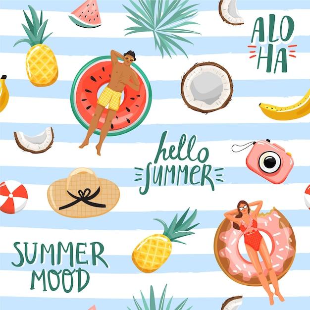 Modèle Sans Couture D'été. Collage De Repos Et De Vacances. Vecteur Premium