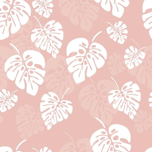 Modèle sans couture d'été avec des feuilles de palmier blanc monstera sur fond rose Vecteur Premium