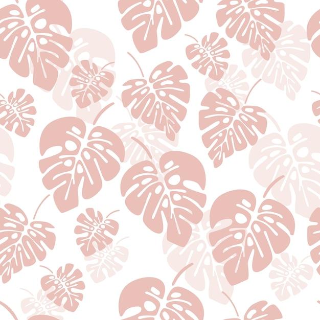 Modèle sans couture d'été avec des feuilles de palmier rose monstera sur fond blanc Vecteur Premium