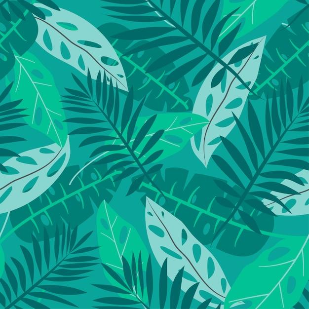 Modèle sans couture de l'été avec des feuilles tropicales Vecteur Premium