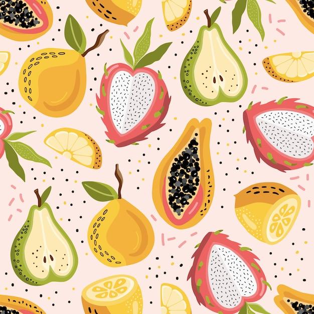 Modèle sans couture de l'été avec des fruits exotiques. Vecteur Premium