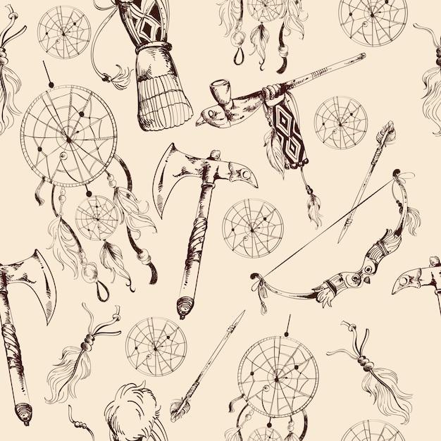 Modèle sans couture ethnique amérindien Vecteur gratuit