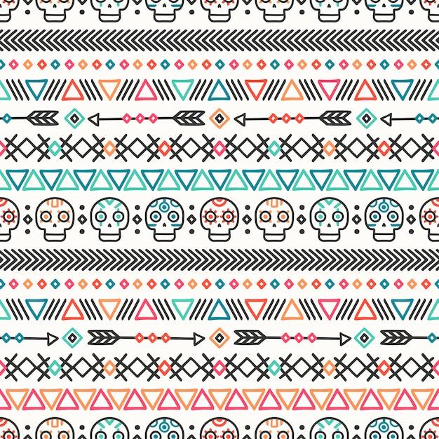 Modèle sans couture ethnique mexicain de la ligne dessinée main tribale. Vecteur Premium