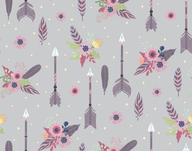 Modèle sans couture ethnique de plumes, de flèches et de fleurs. style bohème. illustration vectorielle Vecteur Premium