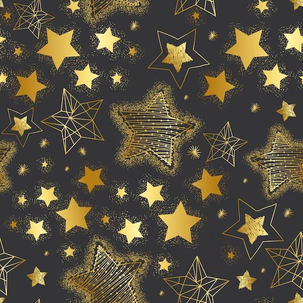 Modèle sans couture d'étoiles d'or dessinés à la main Vecteur Premium