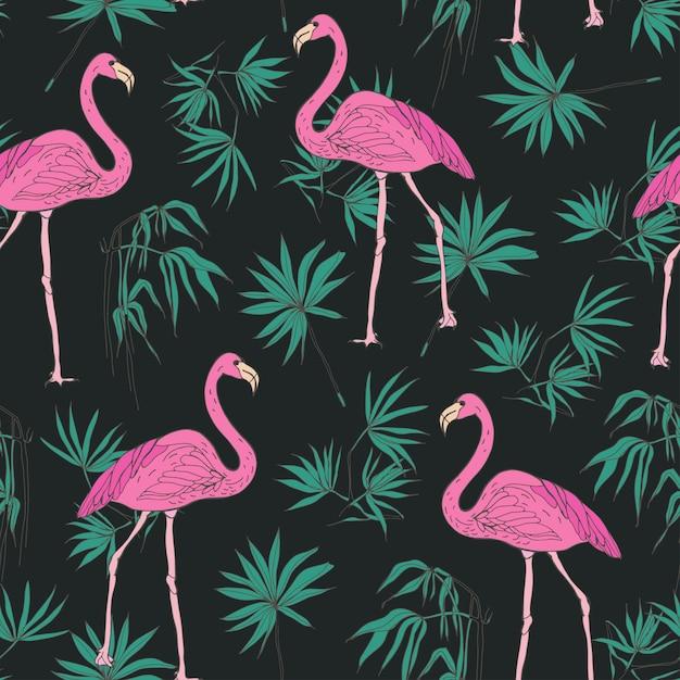 Modèle Sans Couture Exotique élégant Avec De Magnifiques Oiseaux Flamants Roses Et Des Feuilles De Palmier Tropical Vert Dessinés à La Main Sur L'obscurité Vecteur Premium