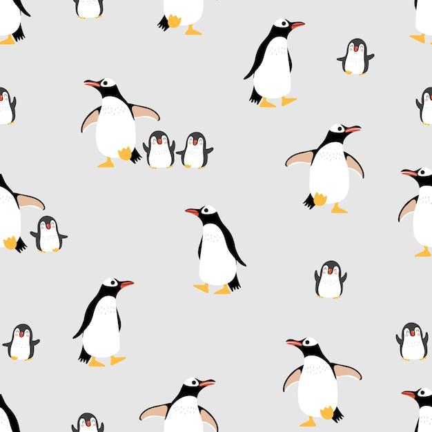 Modèle sans couture famille mignons pingouins et arrière-plan. Vecteur Premium