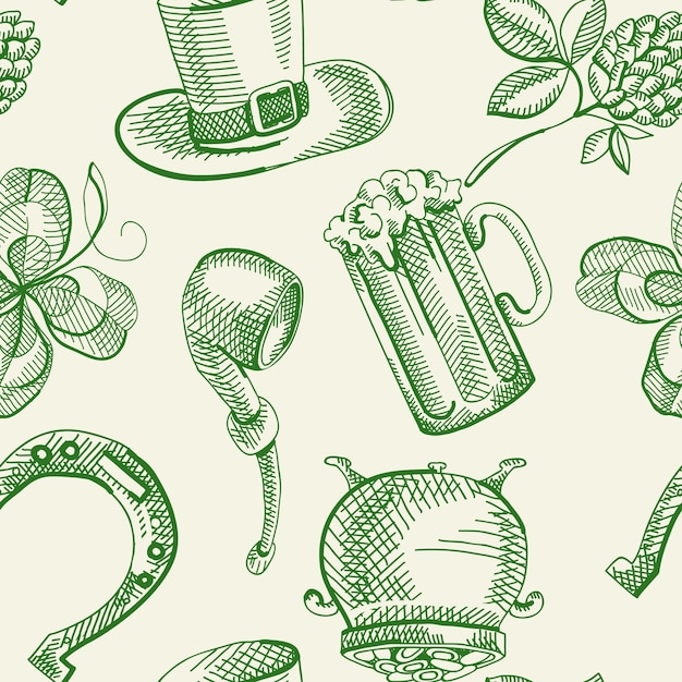 Modèle Sans Couture De Fête Saint Patricks Day Avec Symboles Traditionnels Verts Dessinés à La Main Vecteur gratuit
