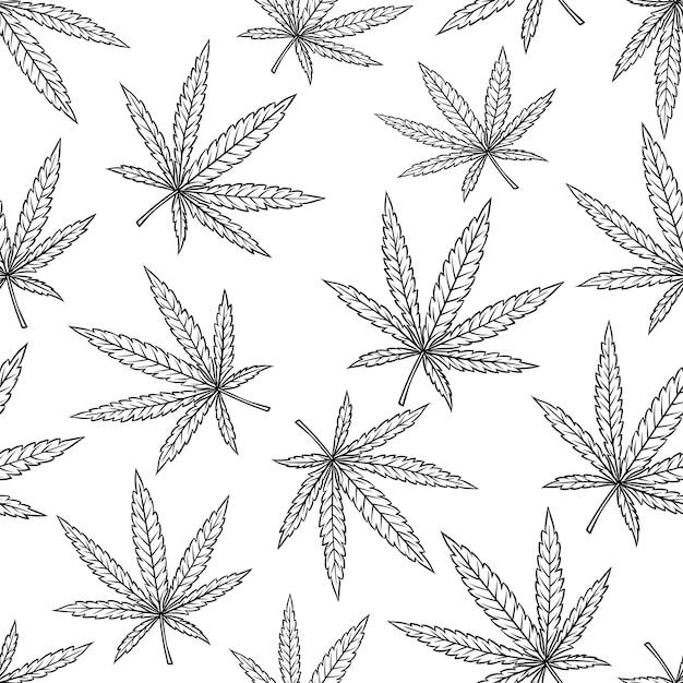 Modèle Sans Couture De Feuille De Cannabis Dans Un Style Vintage Gravé Pour Le Tabagisme Ou La Médecine Vecteur Premium