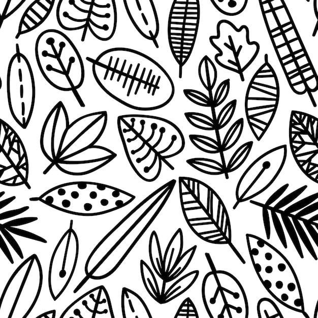 Modèle Sans Couture De Feuille Mignon. élégant Ornement De Belle Nature Pour Le Tissu, L'emballage Et Le Textile. Papier Scrapbook Noir Et Blanc Vecteur Premium